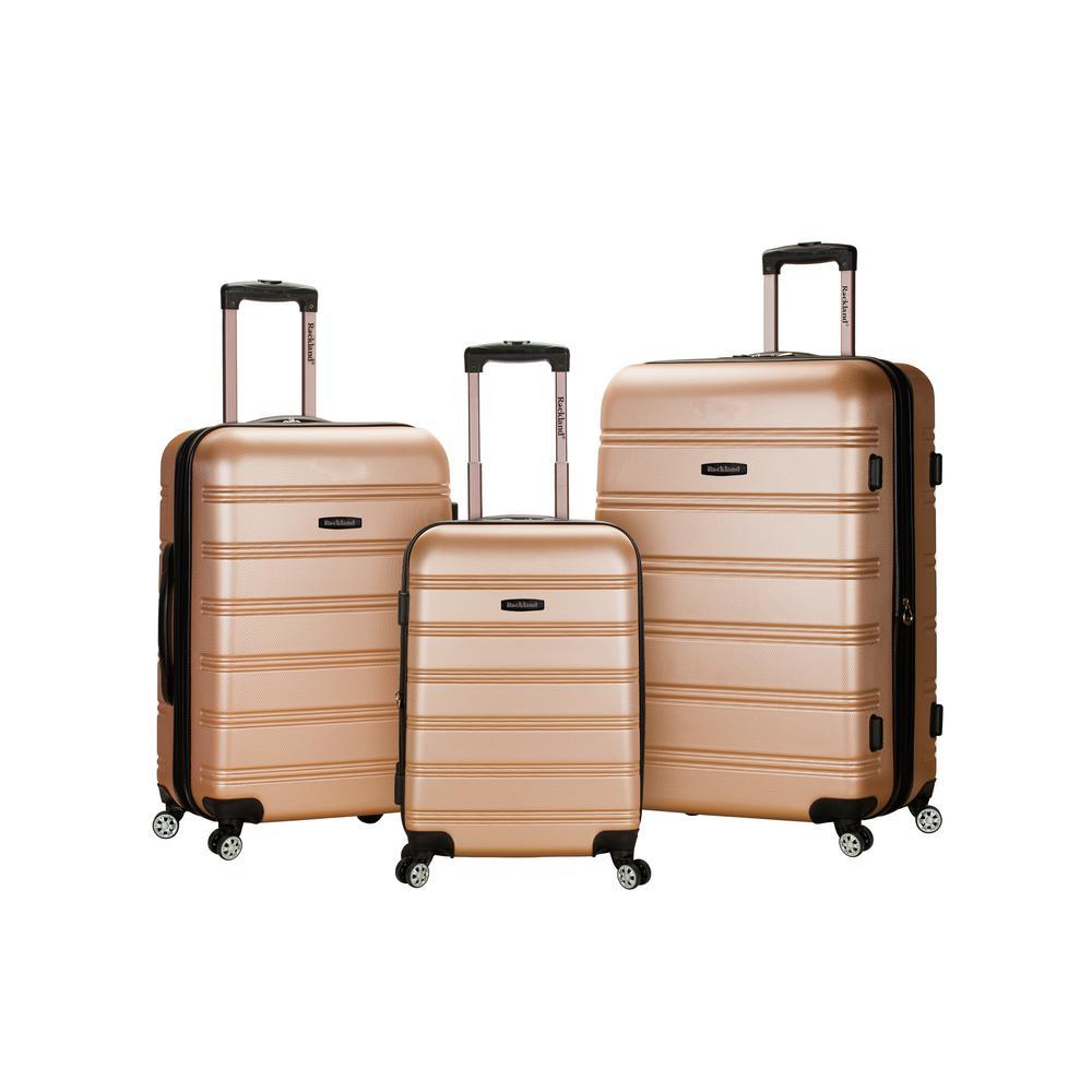 Rockland Melbourne 3-Piece Hardside Spinner Luggage Set, Champagne