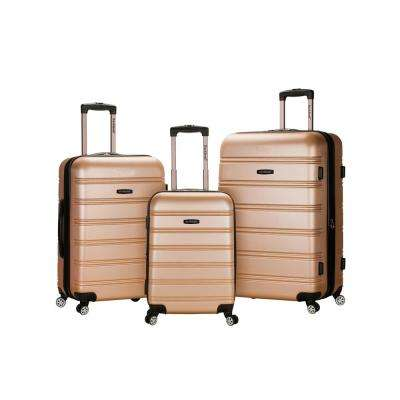 Rockland Melbourne 3-Piece Hardside Spinner Luggage Set, Champagne