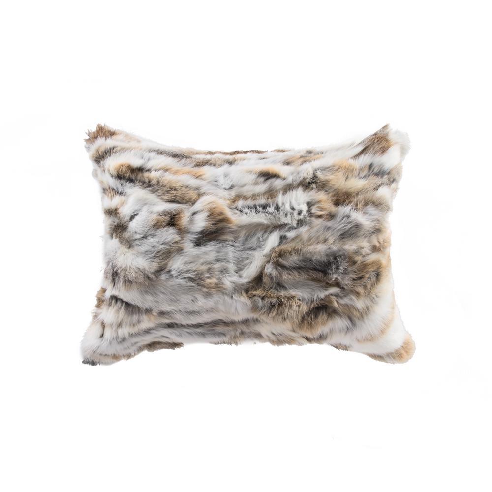 Rabbit Fur 12 in. x 20 in. Tan/White Pillow