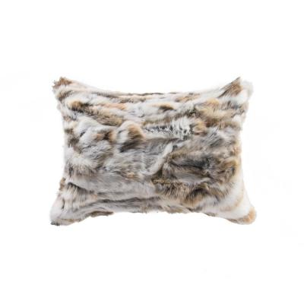 Rabbit Fur Tan & White Animal Print 12 in. x 20 in. Throw Pillow