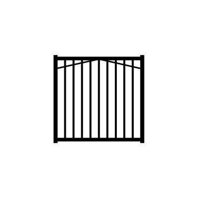 Metropolitan 4 ft. W x 4 ft. H Black Aluminum 2-Rail Fence Gate