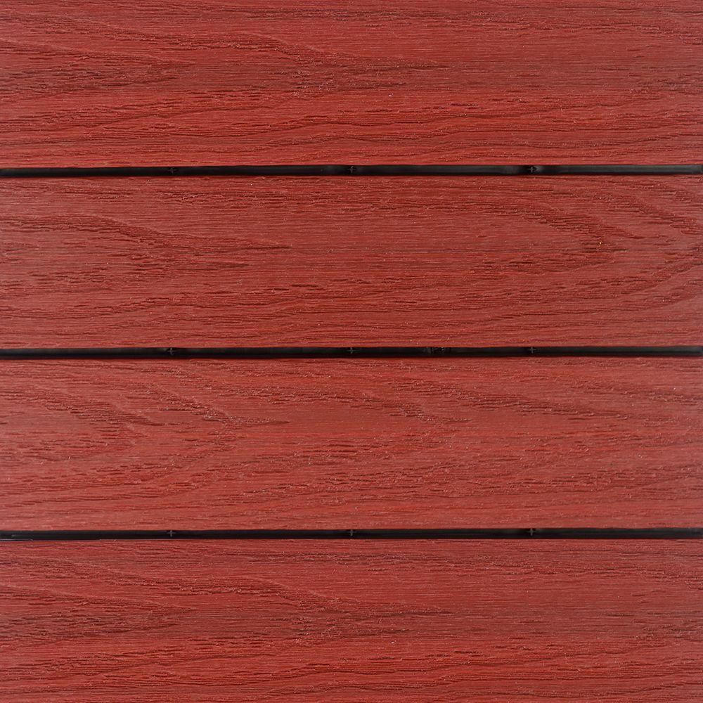 NewTechWood UltraShield Naturale 1 ft. x 1 ft. Quick Deck Outdoor Composite Deck Tile Sample in Swedish Red