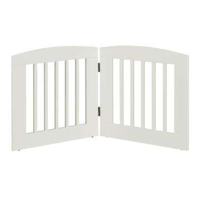 Ruffluv 24 in. H Wood 2-Panel Expansion White Pet Gate