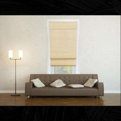 Cordless Double Layered Roman Shade/Window Blind Fabric Curtain Drape,100% Cotton, Privacy -Cotton Sand, 39 in. x 64 in.