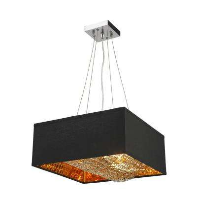 Ritz 5-Light Matte Gold Finish Square Pendant with Black Shade