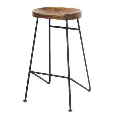 Brown and Black 28 in. Height Iron and Wood Saddle Seat Bar Stool