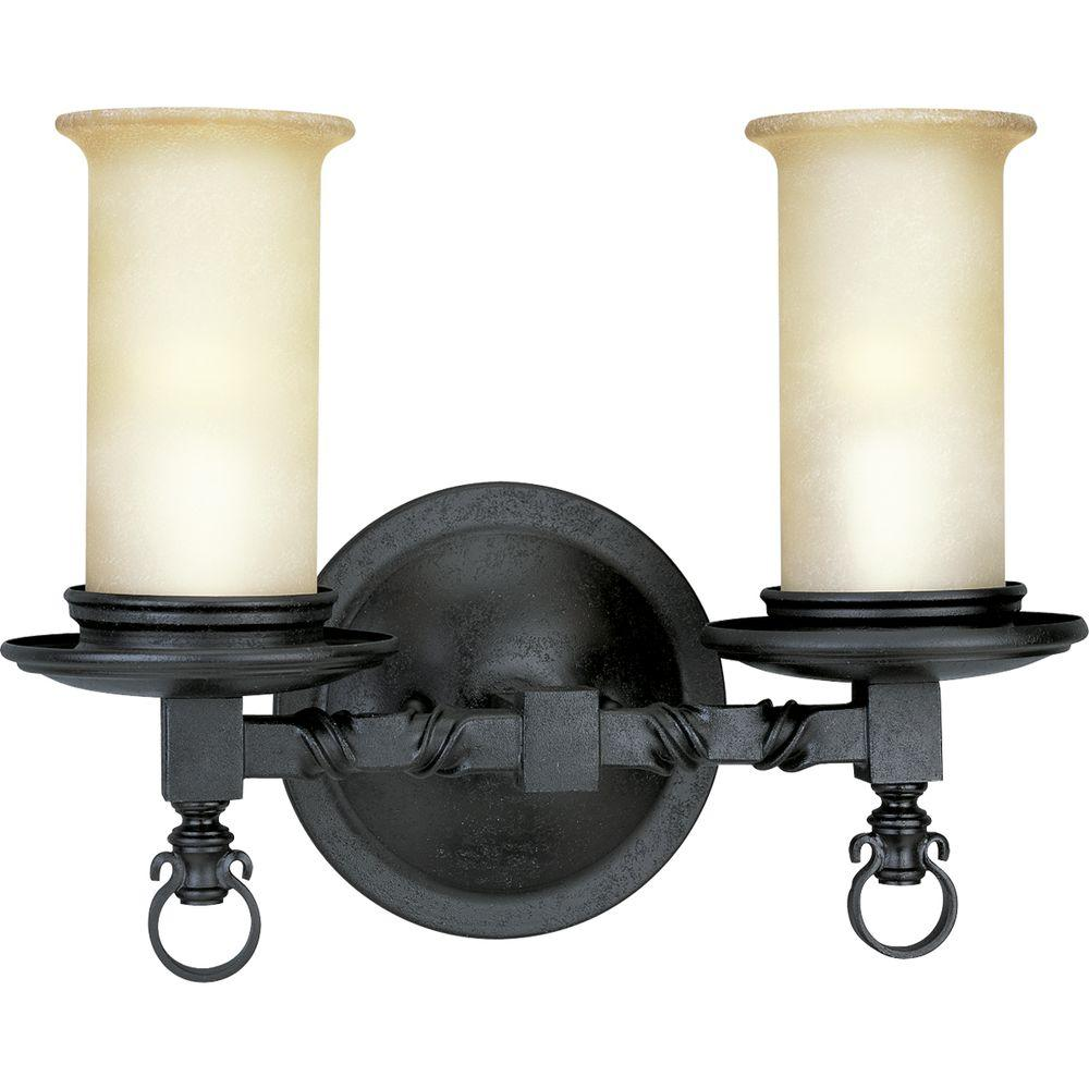 Progress Lighting Santiago Collection 2 Light Forged Black Vanity With Jasmine Mist Gl Shades