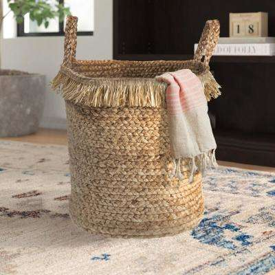 Claine Braided Fringed Natural Jute Decorative Storage Basket with Handles