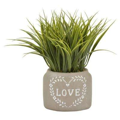 9.5 in. Faux Grass in Flower Pot in Green