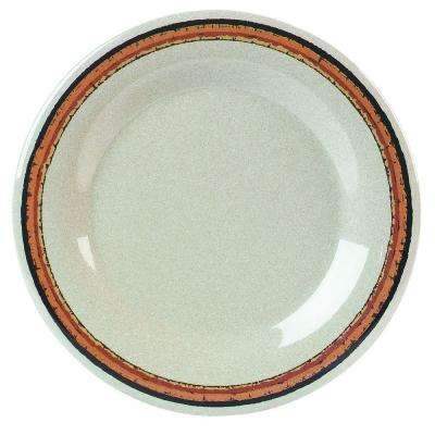 10.5 in. Diameter Wide Rim Melamine Dinner Plate in Sierra Sand Stripe on Sand Plate (Case of 12)