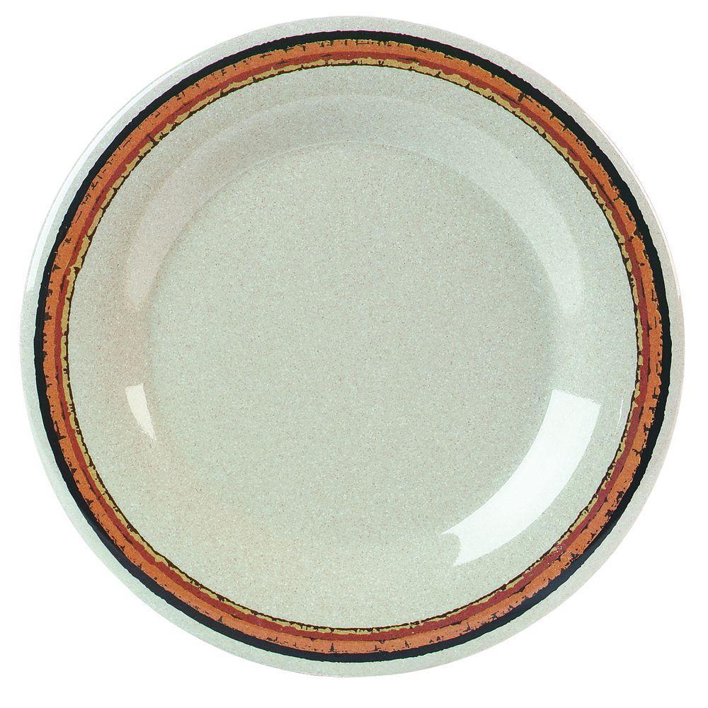 10.5 in. Diameter Wide Rim Melamine Dinner Plate in Sierra Sand Stripe on Sand Plate (Case of 12)