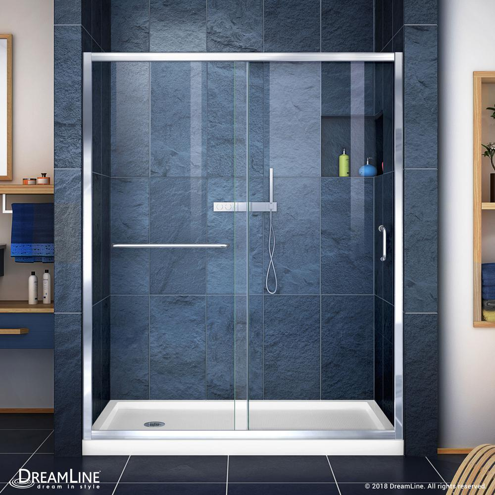 DreamLine Infinity-Z 36 in. x 60 in. Semi-Frameless Sliding Shower Door in Chrome with Left Drain White Acrylic Base