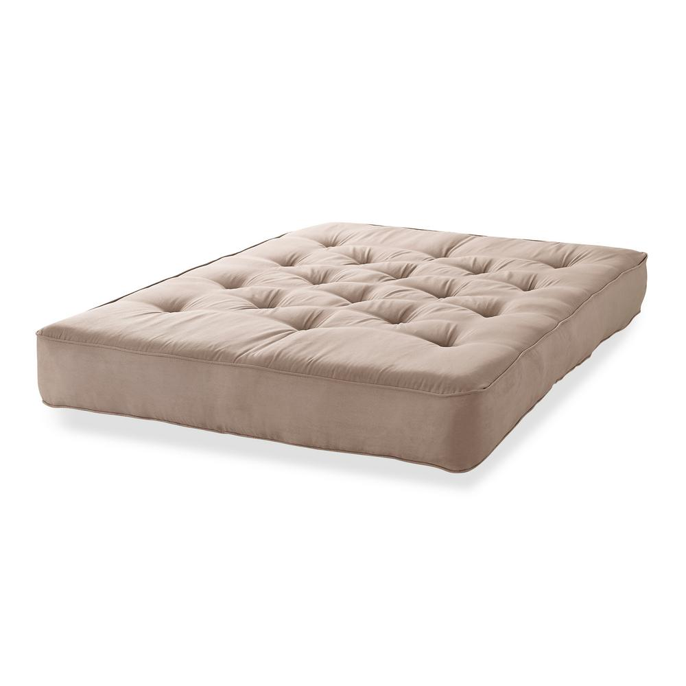 Beautyrest Full 8 in. Pocketed Coil Innerspring Futon Mattress Taupe Microfiber