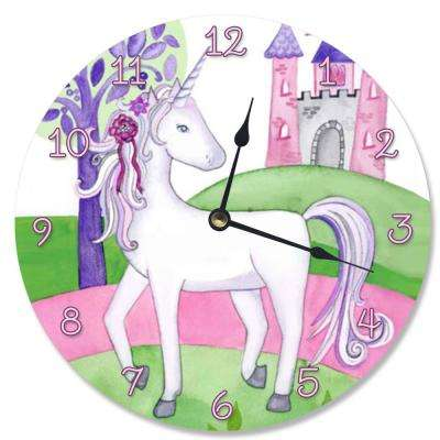 """Unicorn and Her Castle"" by Terezie Rice Wall Clock"