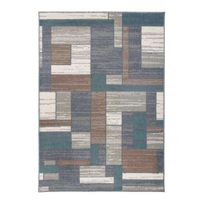 """Distressed Modern Boxes Gray 7'10""""x10' Area Rug"""