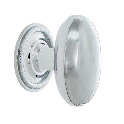 Homestead 1-1/8 in. Bright Chrome Brass Cabinet Knob with Rope Rose