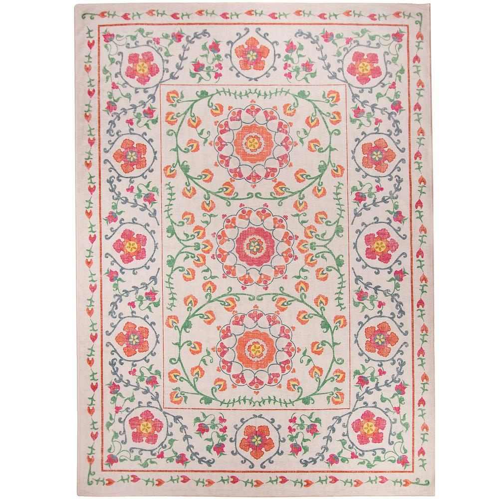 Ruggable Washable Suzi Coral 5 ft. x 7 ft. Stain Resistant Area Rug