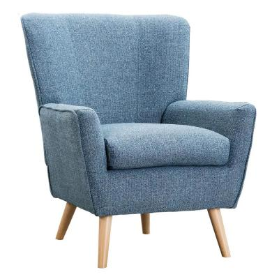 Blue Arm Chairs Mid Century Modern Fabric Accent Chair for Living Room and Bedroom