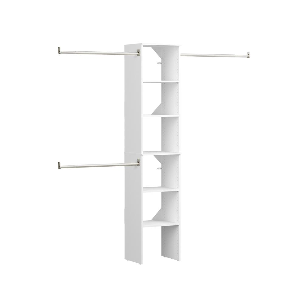 ClosetMaid Style+ 72 in. W - 113 in. W White Narrow Wood Closet System