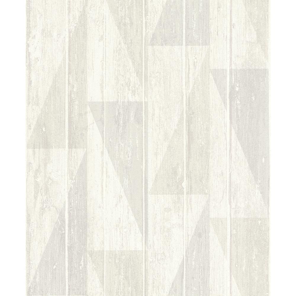 56.4 sq. ft. Nilsson White Geometric Wood Wallpaper