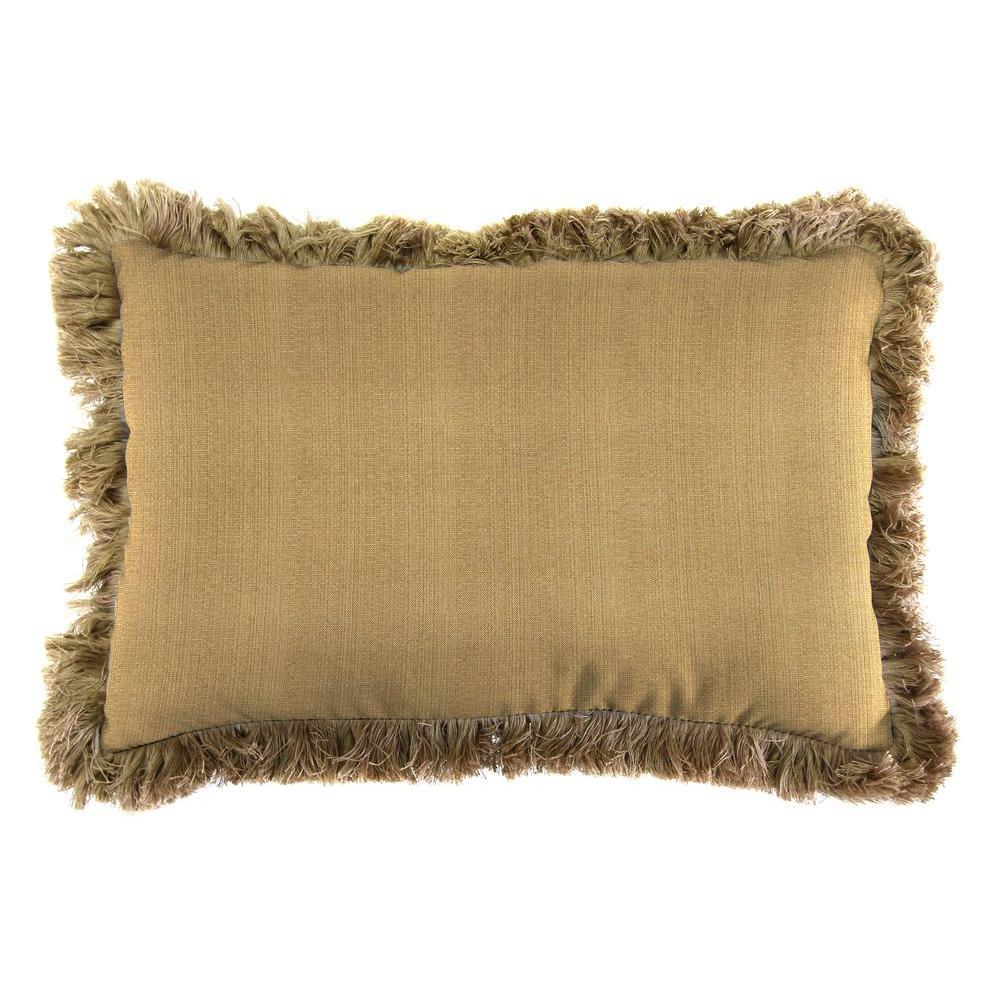Sunbrella 9 in. x 22 in. Linen Straw Lumbar Outdoor Pillow with Heather Beige Fringe