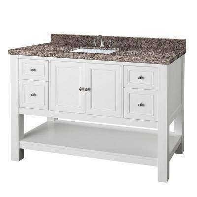 Gazette 49 in. W x 22 in. D Vanity in White with Granite Vanity Top in Sircolo and White Sink