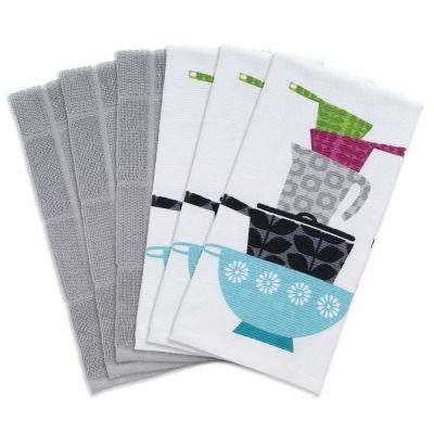 T-fal Multicolor Pots and Pans Cotton Print Dual and Solid Kitchen Dish Towel (Set of 6)