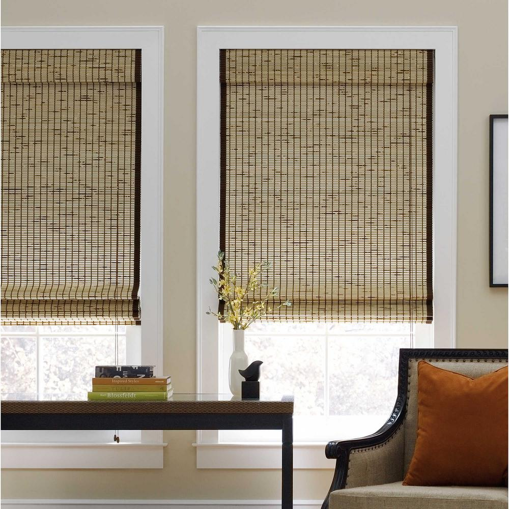 Cut-to-Width Tortoise Corded Natural Bamboo Roman Shade - 48 in. W