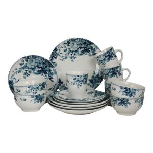 16-Piece Traditional Blue Stoneware Dinnerware Set (Service for 4)