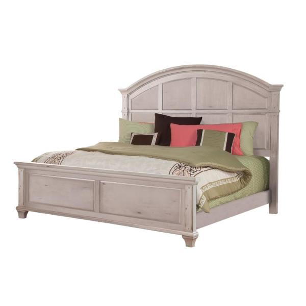 American Woodcrafters Sedona Antique Cobblestone White King Panel Bed