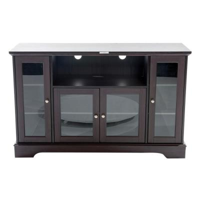 Home Source Black Mocha Plasma TV Stand with 4 Glass Storage Cabinets and Middle Shelf