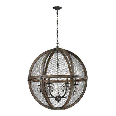 6-Light Large Renaissance Invention Wood and Wire Chandelier