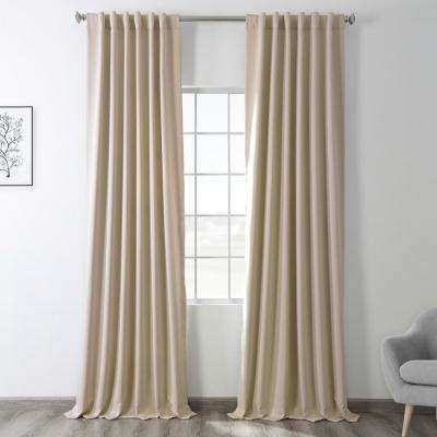 Semi-Opaque Egg Nog Ivory Blackout Curtain - 50 in. W x 120 in. L (Panel)