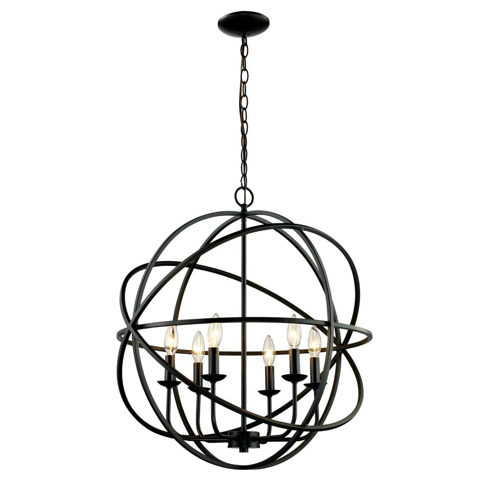 Bel Air Lighting 6 Light Rubbed Oil Bronze Pendant