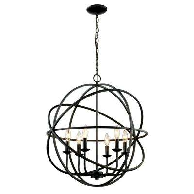 6-Light Rubbed Oil Bronze Pendant