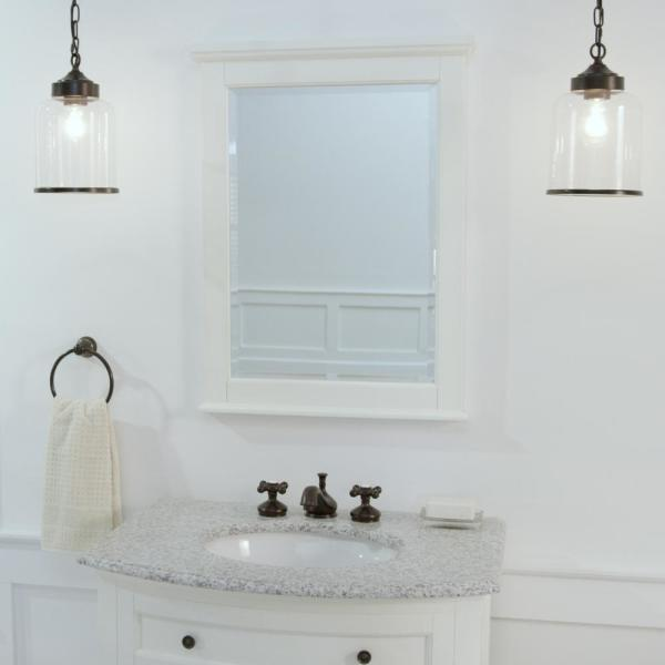 Home Decorators Collection 24 In W X 32 In H Framed Rectangular Bathroom Vanity Mirror In Ivory 1234900410 The Home Depot