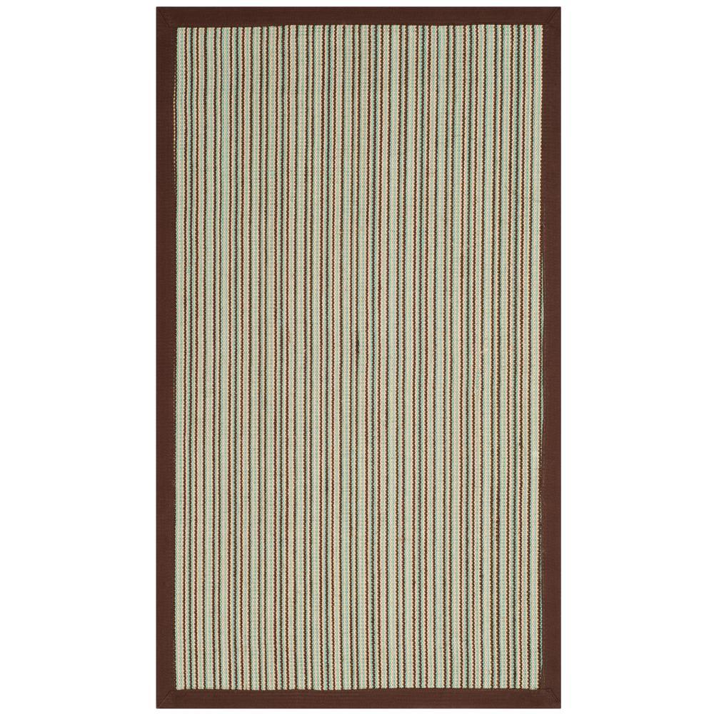 Natural Fiber Teal/Brown 3 ft. x 5 ft. Indoor Area Rug