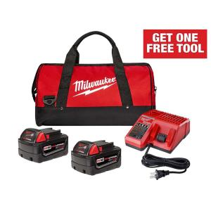 Milwaukee M18 18-Volt Lithium-Ion XC Starter Kit with Two 4.0 Ah Batteries, Charger and Contractor Bag + FREE Tool (up to $299 value)