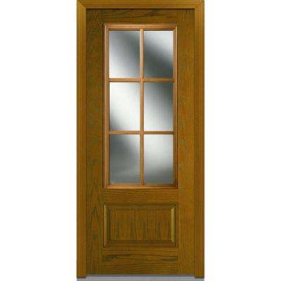 36 in. x 80 in. Simulated Divided-Lites Left-Hand Inswing 3/4-Lite Clear Stained Fiberglass Oak Prehung Front Door