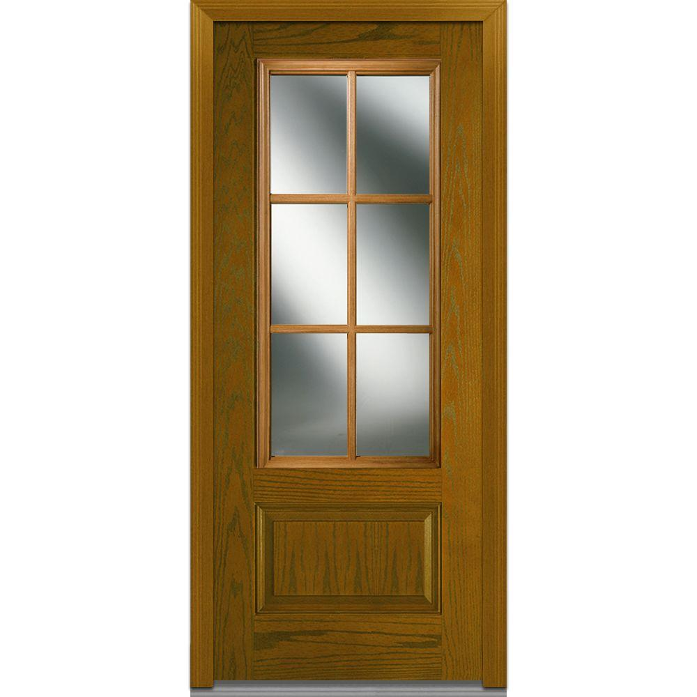 MMI Door 36 In. X 80 In. Simulated Divided Lites Right Hand
