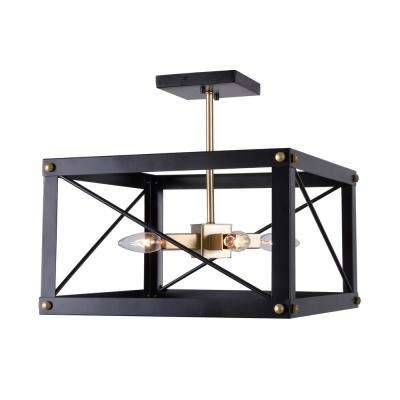 Courtney 4-Light Black and Gold Semi Flush Mount Light