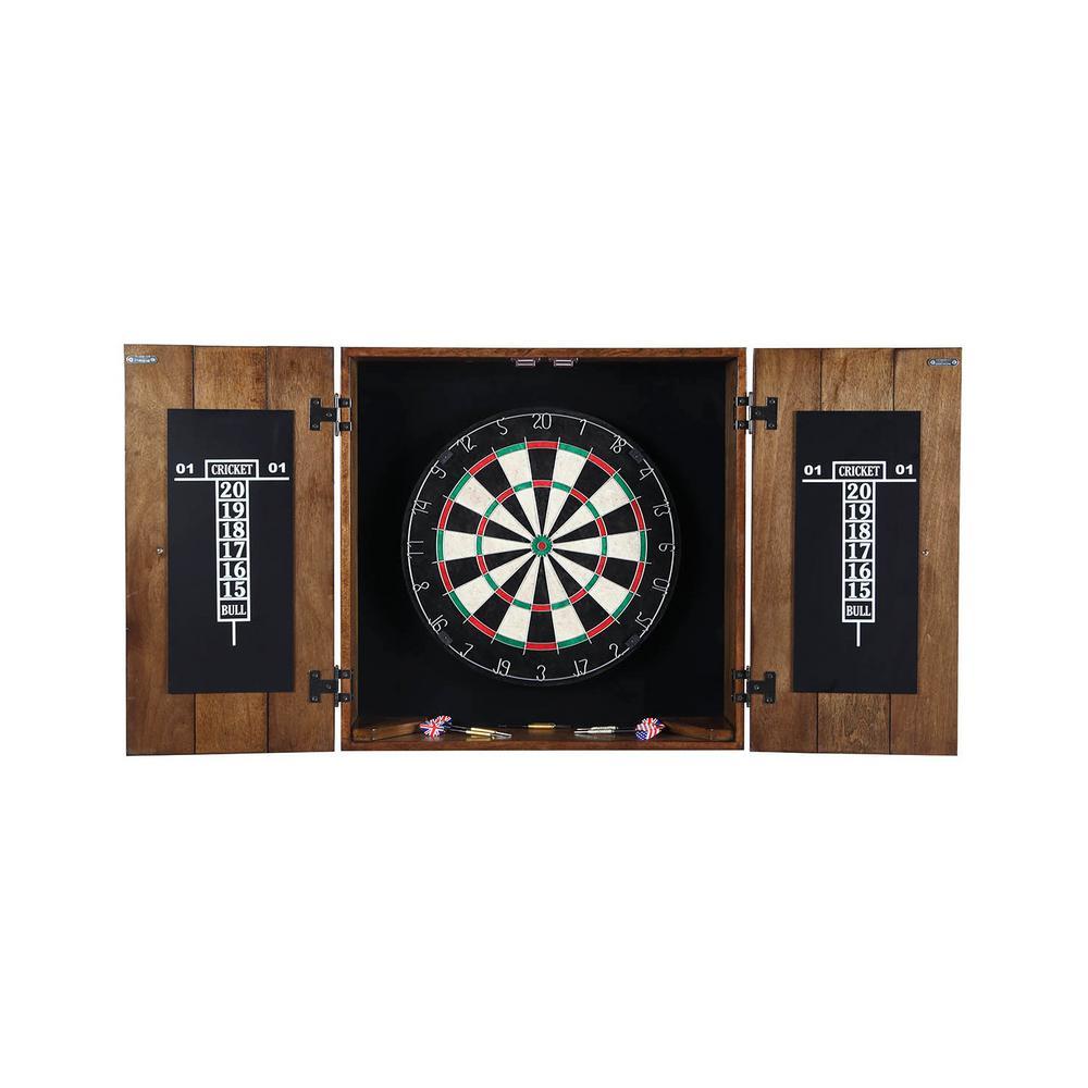 25 in. Drifter Solid Wood Dart Board and Cabinet Set in Rustic Oak