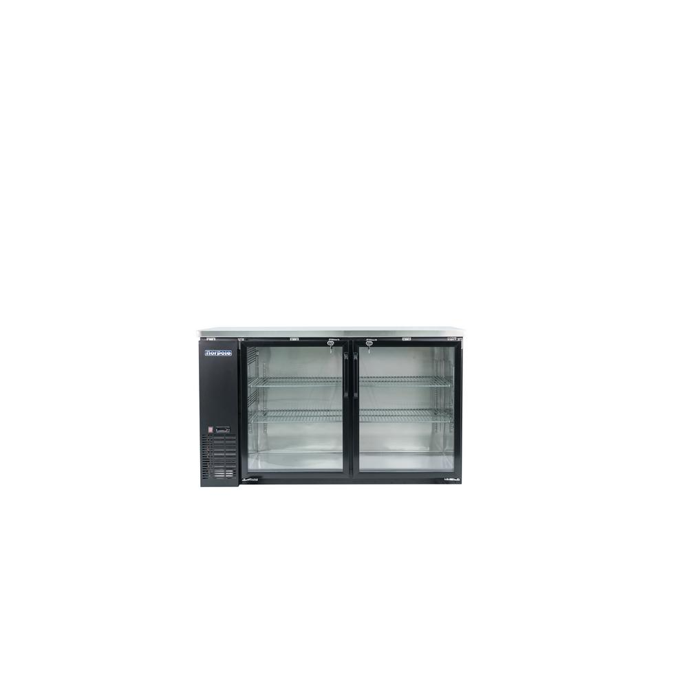 Norpole 16 Cu Ft 2 Glass Door Under Bar Refrigerator Black Npgb