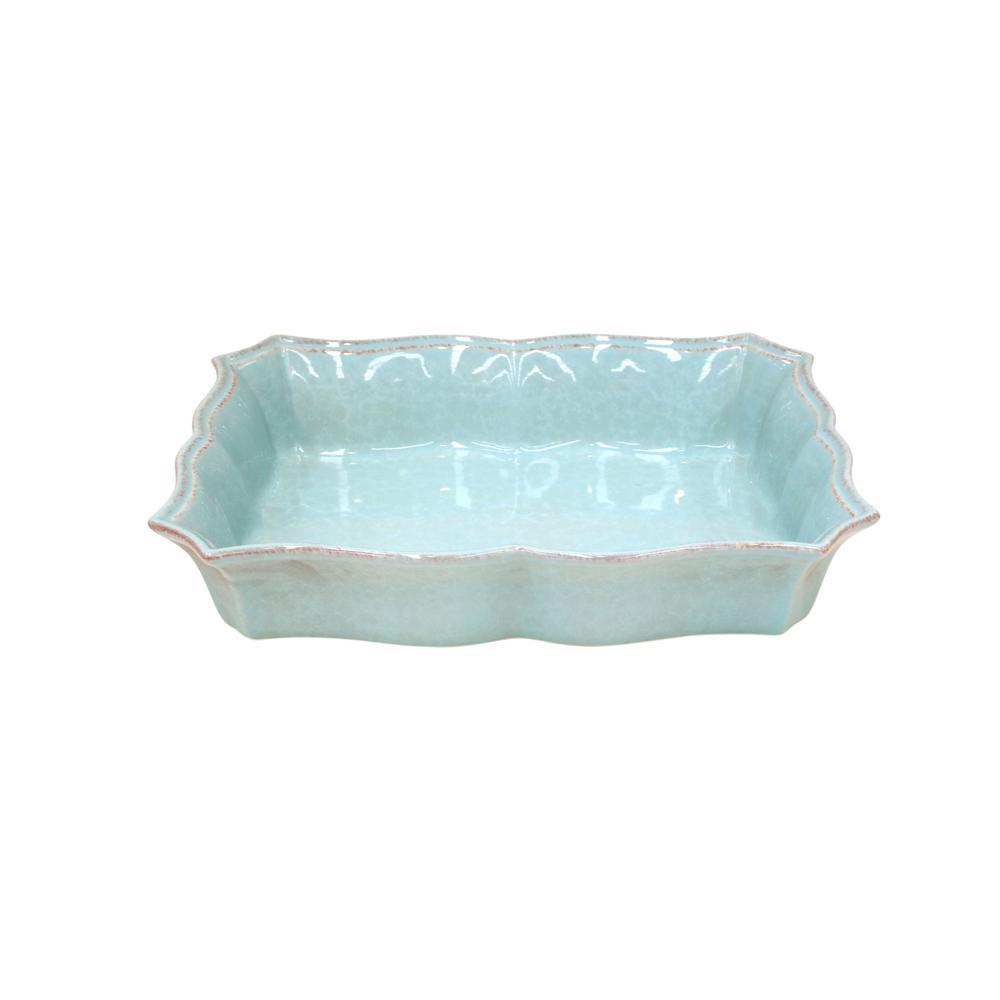 Impressions 13 in. 116 fl. oz. Blue Stoneware Baker