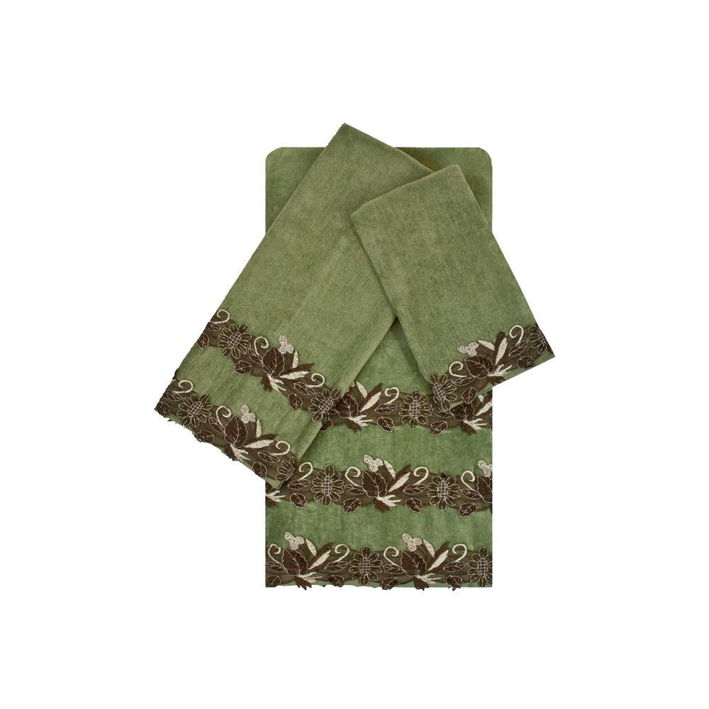 Romantica Lace Sage Embellished Towel Set (3-Piece)