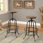 Furniture of America Dirk 24 in. Medium Oak Bar Stool (Set of 2)