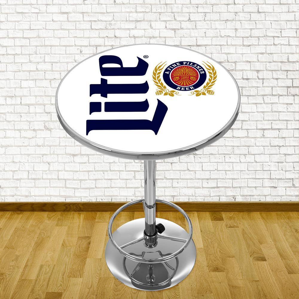 Wondrous Trademark Miller Lite Retro Chrome Pub Bar Table Ml2000 R Theyellowbook Wood Chair Design Ideas Theyellowbookinfo