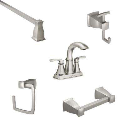 Hensley 4 in. Centerset 2-Handle Bathroom Faucet in Spot Resist Nickel with 4-Piece Bath Hardware Set