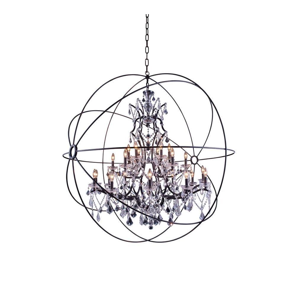 Geneva 25-Light Dark Bronze Chandelier with Clear Crystal