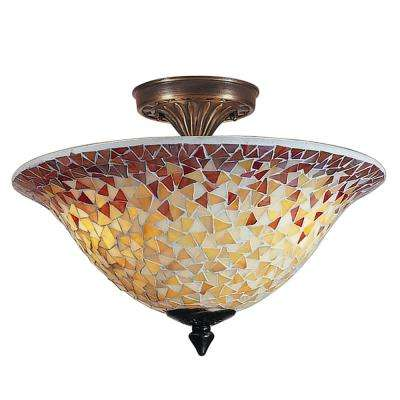 Cassidy Mosaic 3-Light Antique Brass Finish Semi-Flushmount